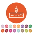 Cake with candles in the form of number 9 icon vector image vector image