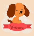 Card with the inscription on the tape Welcome and vector image vector image