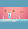christmas new year abstract 3d low poly gold deer vector image