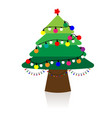 christmas tree with christmas lights vector image vector image