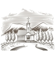 Church landscape vector image