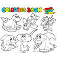 coloring book with marine animals 1 vector image