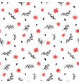 contrast black and red ink flowers pattern vector image