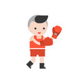 cute boxer with boxing glove flat design vector image vector image