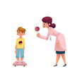 doctor giving lollipop to boy kid on weight scale vector image vector image