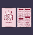 drinks menu template for bar cafe or vector image vector image