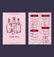 drinks menu template for bar cafe vector image