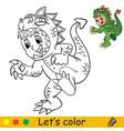 funny boy in dinosaur costume halloween concept vector image