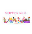 go shopping line composition vector image vector image