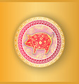 gold circle decorated by piggy and flowers vector image