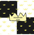 hand drawn crowns seamless pattern set vector image vector image