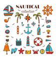 Hand drawn nautical collection Sea and ocean vector image vector image