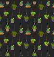 hanging pots with plants seamless pattern vector image vector image