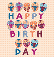 Happy birthday card cute owls Blue pink purple vector image