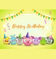 happy birthday greetings cute childish decorative vector image vector image