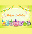 happy dirthday greetings cute childish decorative vector image vector image