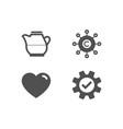 heart milk jug and copywriting network icons vector image
