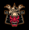japanese demon samurai in helmet colored vector image vector image