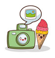 kawaii photo camera and ice cream image vector image