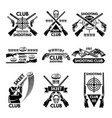 labels set for shooting club vector image