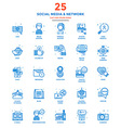 Modern Flat Line Color Icons Social Media and vector image vector image