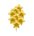 realistic detailed 3d golden star balloon bunch vector image vector image