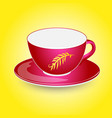 red empty cup mockup on plate design vector image vector image