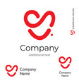red heart line logo modern love identity brand vector image vector image