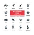 restaurant menu - line design silhouette icons set vector image vector image
