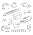 Retro bakery and pastry sketches vector image