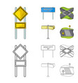 road signs and other web icon in cartoonoutline vector image