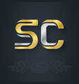 s and c - initials or gold and silver logo sc vector image