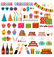 set happy birthday party accessories vector image