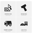 set of 4 editable structure icons includes vector image vector image
