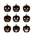 Set pumpkins silhouette icons of the day halloween vector image vector image