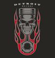 skull piston biker emblem vector image vector image