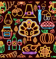 thanksgiving neon seamless pattern vector image vector image