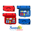 top view collection summer vacation suitcases vector image vector image