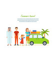 travel - family trip to warm country in his car vector image vector image