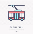 trolleybus thin line icon side view vector image vector image