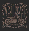vintage motorcycle hand drawn t-shirt vector image vector image