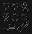 white line icons dental care in whimsy style vector image vector image