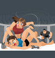 women struggle in the ring vector image