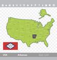 arkansas flag and map vector image