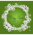Spring Happy Easter circle design with chamomiles vector image