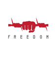 freedom concept with barbed wire and hand design vector image