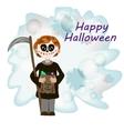Kid with Halloween Skeleton Costume vector image
