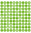 100 hacking icons hexagon green vector image vector image