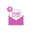19 years anniversary icon in lilac open letter vector image vector image
