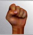 african american human fist raised up isolated on vector image